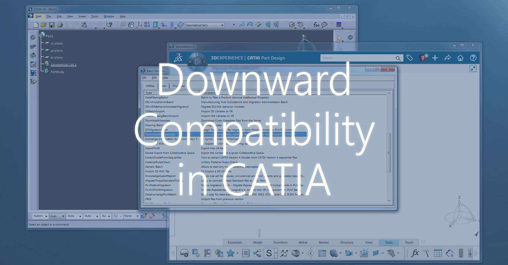 Downgrade a Catia model to a previous release (V5 and 3DExp)